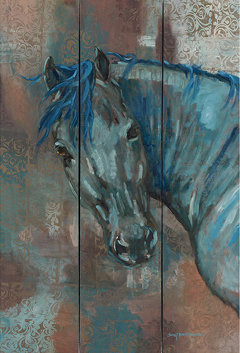 Horse Painting - Turquoise Horse by Sarrah Dibble-Camburn