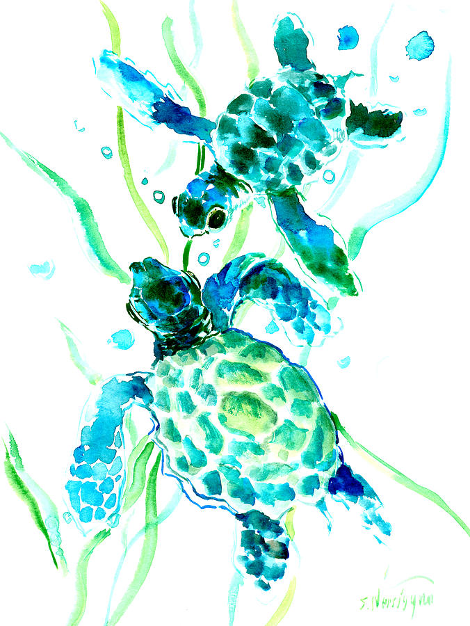 Sea Turtle Painting - Turquoise Indigo Sea Turtles by Suren Nersisyan