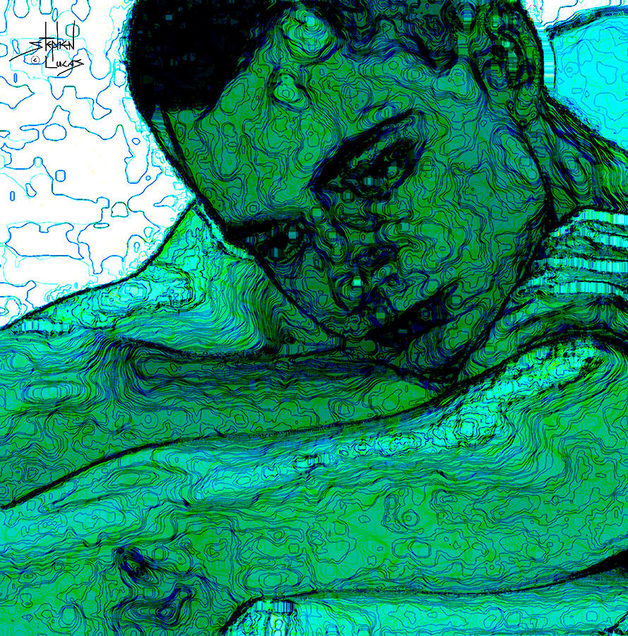 Abstract Digital Art - Turquoise Man by Stephen Lucas