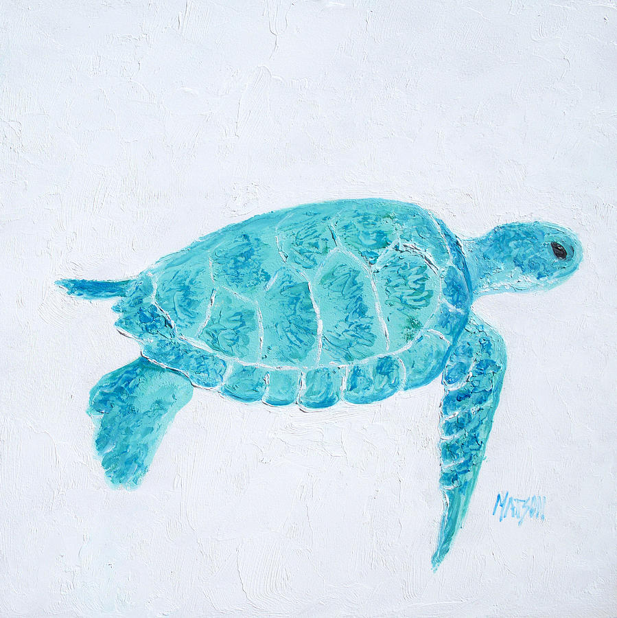 Turquoise Marine Turtle Painting By Jan Matson