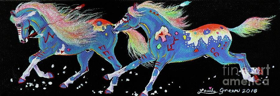 Turquoise Painting - Turquoise Ponies In The Falling Snow by Louise Green