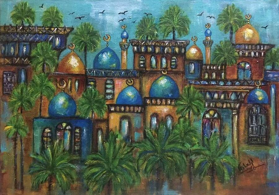 Mosques Painting - Turquoise by Siran Ajel