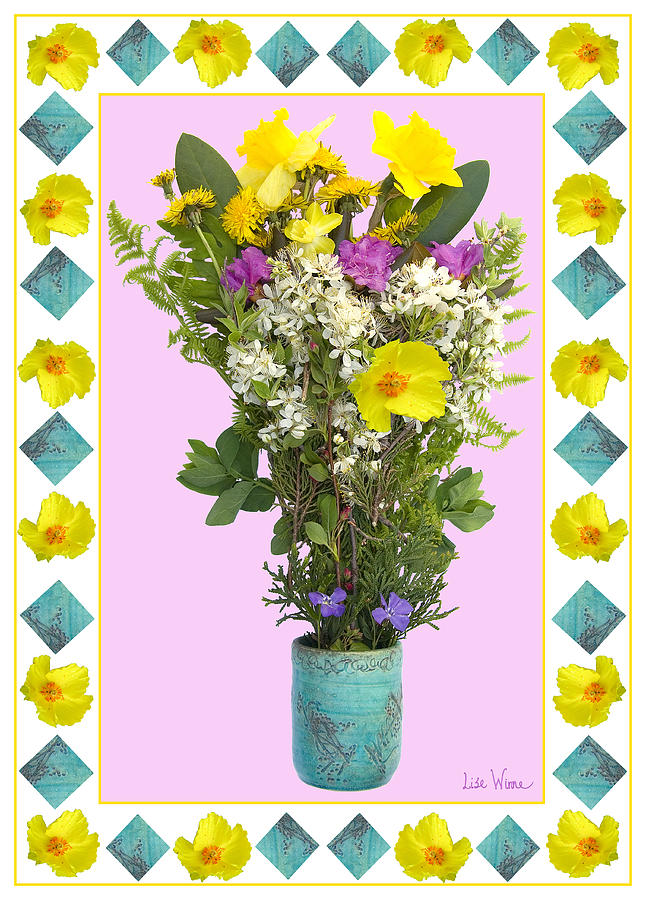 Daffodils Digital Art - Turquoise Vase With Spring Bouquet by Lise Winne