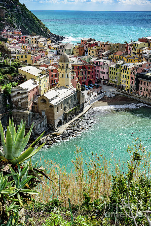 Turquoise Water and Village Of Vernazza, Cinque Terre, Italy by Global Light Photography - Nicole Leffer