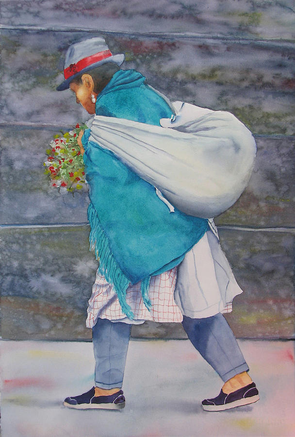 Figure Painting - Turquoise Wrap by Libby  Cagle