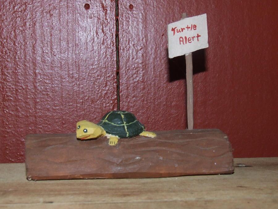 Carving Sculpture - Turtle Alert by Scott Ritchie