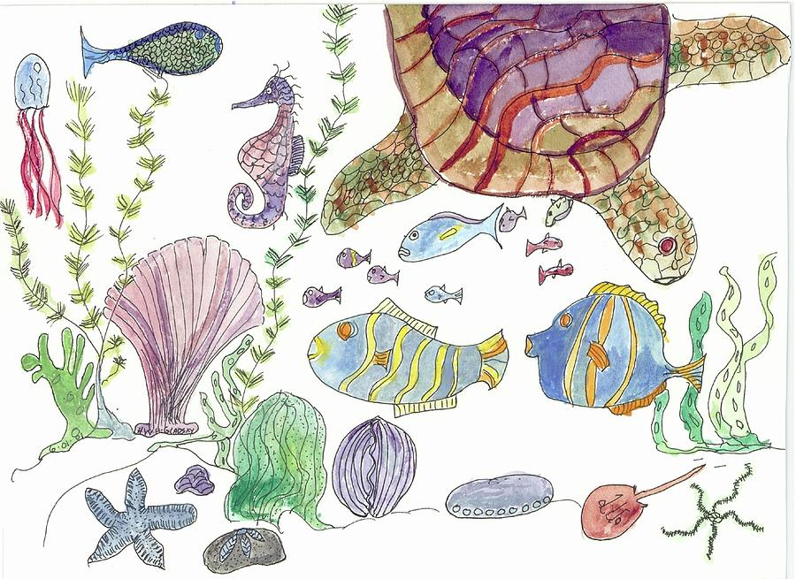 Turtle and Sea Life by Helen Holden-Gladsky