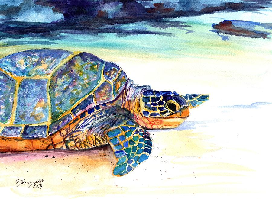 Turtle at Poipu Beach 2 by Marionette Taboniar