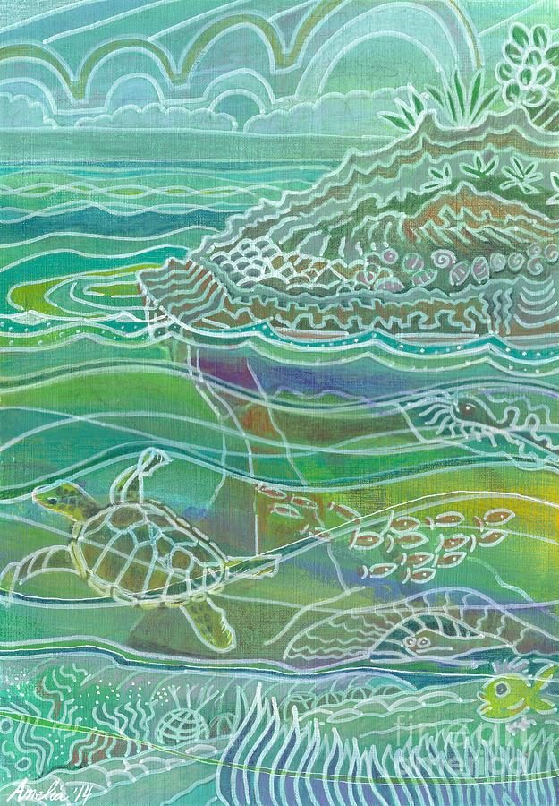 Reef Mixed Media - Turtle at the Copper Sweeper Reef by Amelia at Ameliaworks