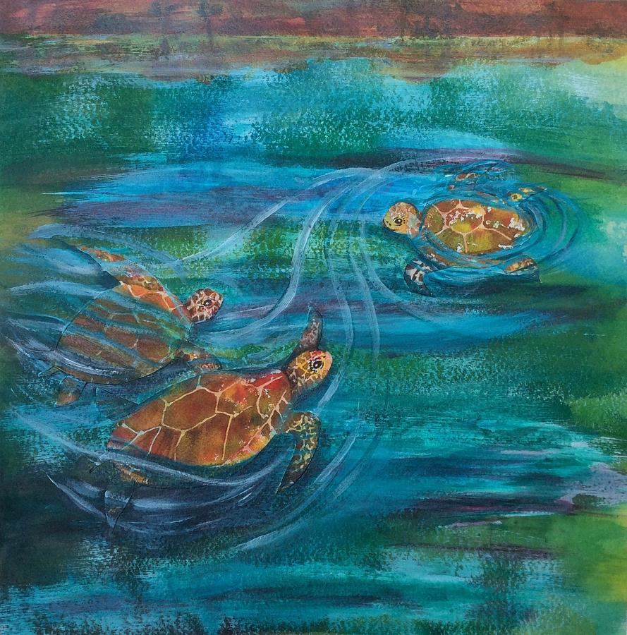 Pond Painting - Turtle Ballet by Bonnie Rabert