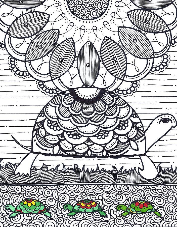 Caroline Drawing - Turtle by Caroline Sainis