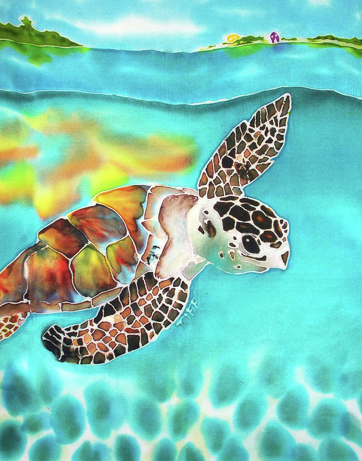 Hawksbill Turtle Painting - Turtle Creek by Tiff