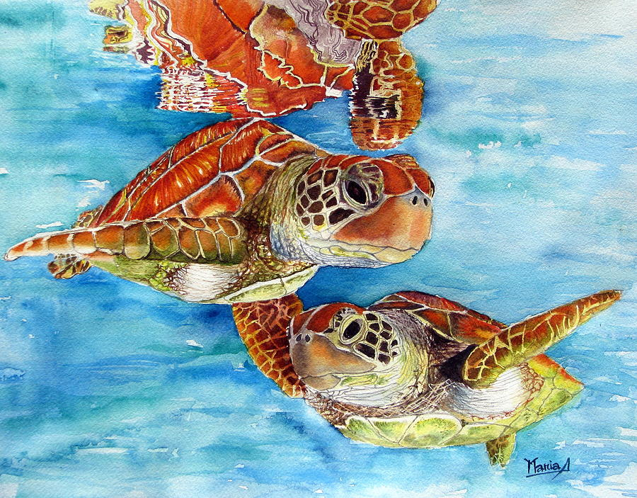 Sea Turtles Painting - Turtle Crossing by Maria Barry