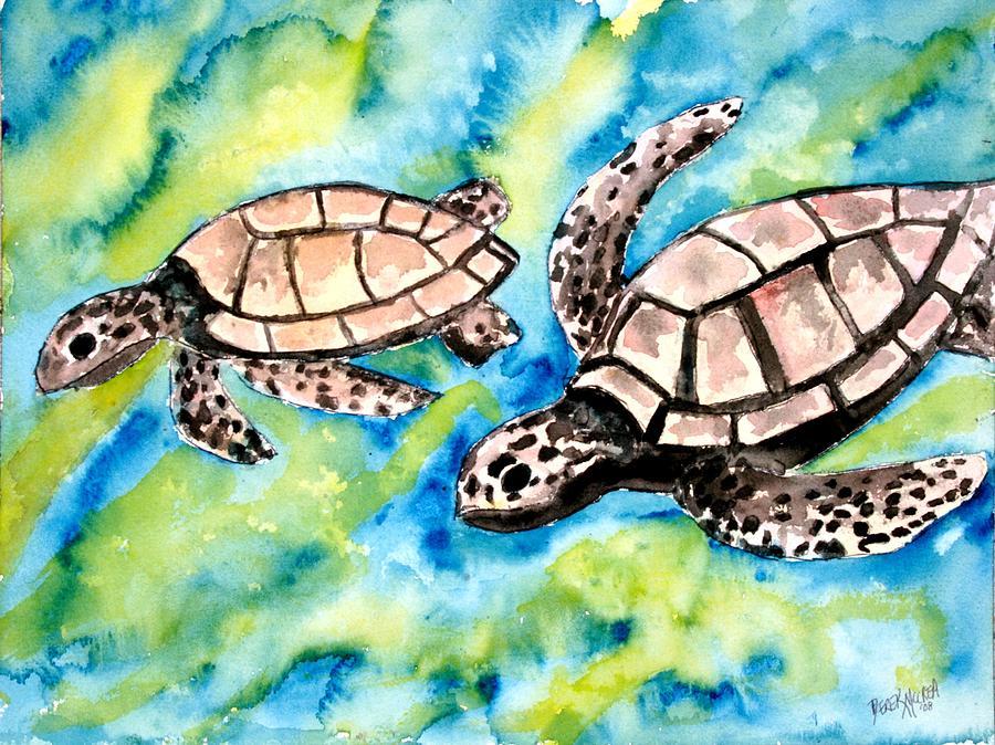 Love Painting - Turtle Love Pair Of Sea Turtles by Derek Mccrea