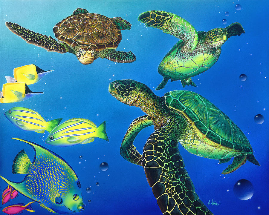 Turtle Painting - Turtle Towne by Angie Hamlin