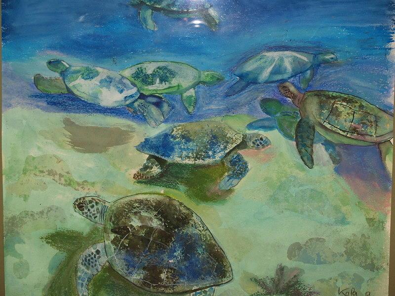 Turtles Painting - Turtles by Aline Kala