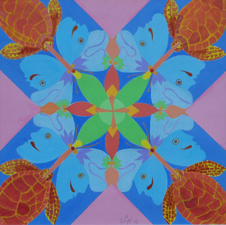 Acrylic Painting - Turtles And Butterfly People by Seema  Gill