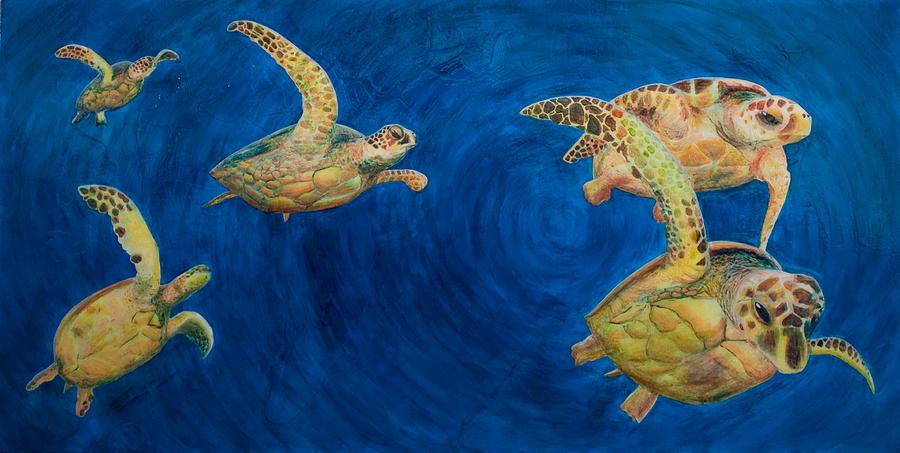 Turtles Painting - Turtles by Julia Collard