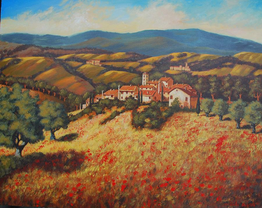 Tuscan Landscape Painting - Tuscan Countryside by Santo De Vita