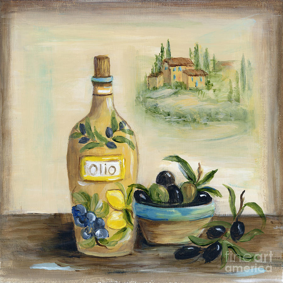 Tuscan Olive Oil With View Painting By Marilyn Dunlap