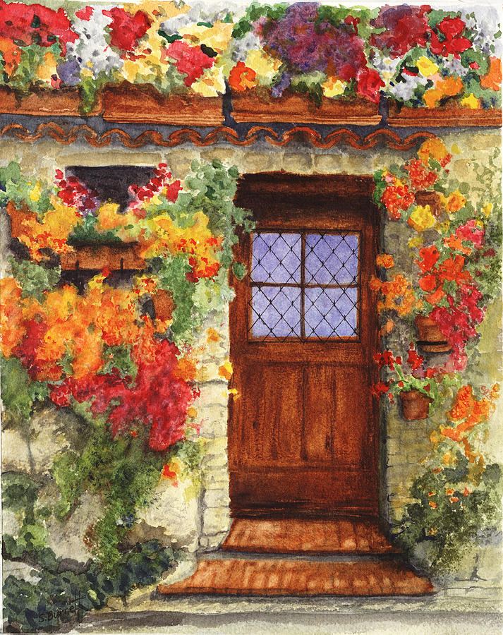 Italy Painting - Tuscan Door by Sherry Burnett & Tuscan Door Painting by Sherry Burnett