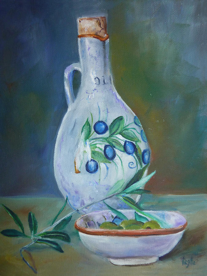 Still Life Paintings Painting - Tuscan Elements - Olive Oil With Olives by Virgilla Lammons