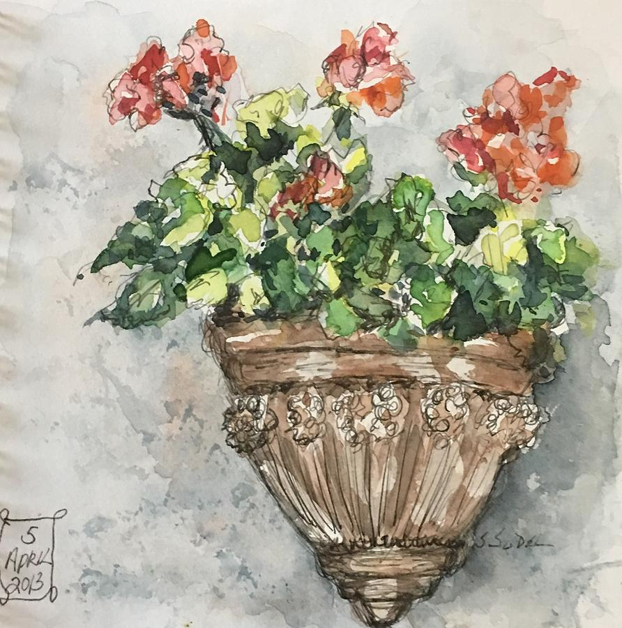 Geraniums Painting - Tuscan Floral by Stephanie Sodel