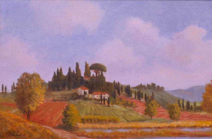 Tuscan Hillside Painting by David Olander