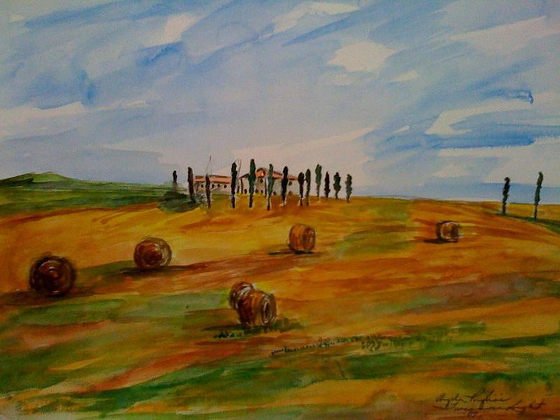 Tuscany Landscape Watercolor Painting - Tuscan Light  by Angela Puglisi