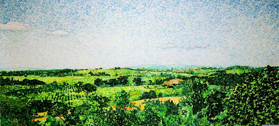 Landscape Drawing - Tuscan Long View by Jason Charles Allen