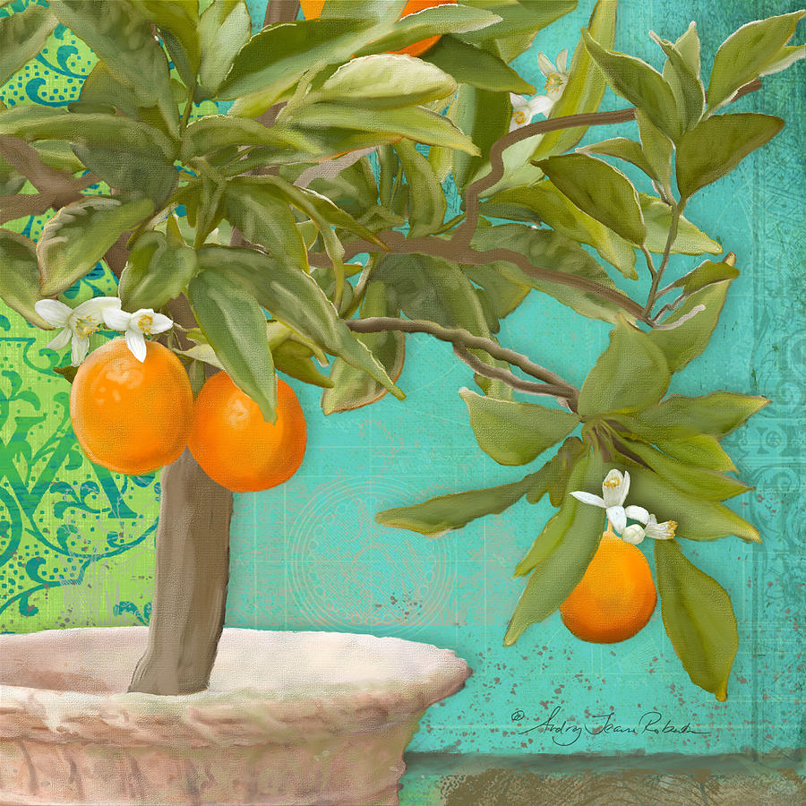 Tuscan Painting - Tuscan Orange Topiary - Damask Pattern 3 by Audrey Jeanne Roberts