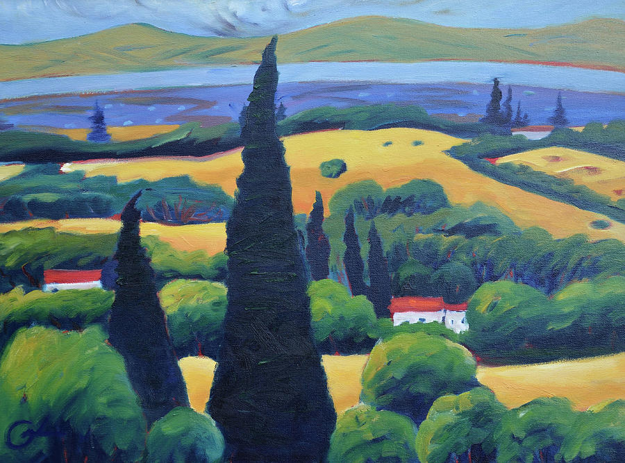 Tuscany Painting - Tuscan Pines And South Bay by Gary Coleman