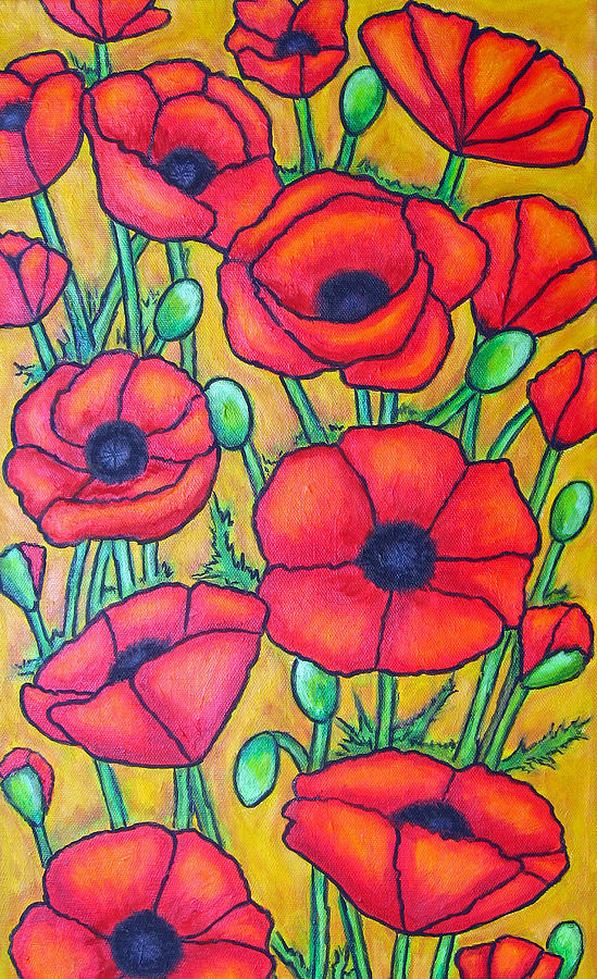 Poppies Painting - Tuscan Poppies - Crop 1 by Lisa  Lorenz