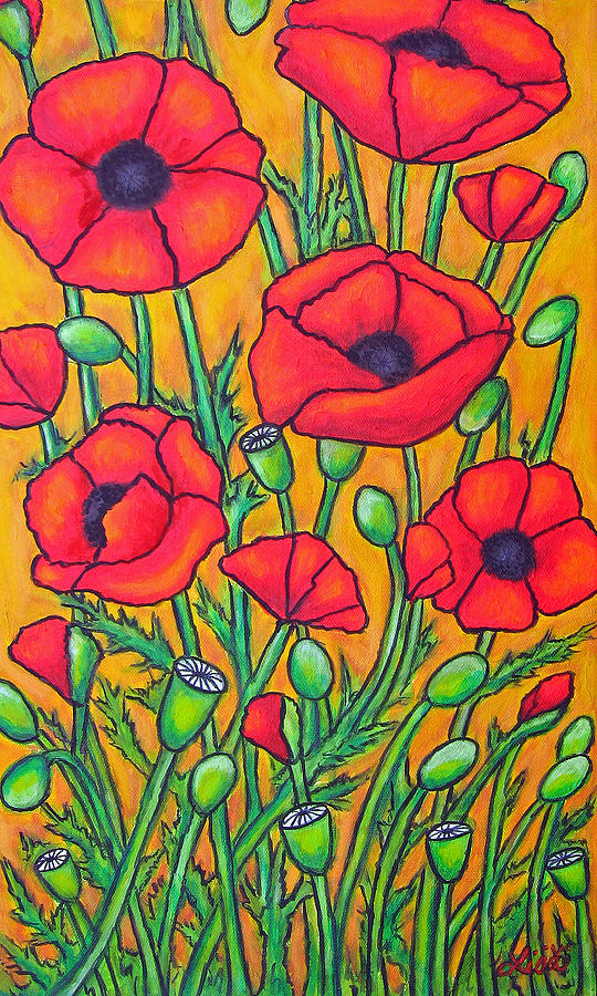 Poppies Painting - Tuscan Poppies - Crop 2 by Lisa  Lorenz