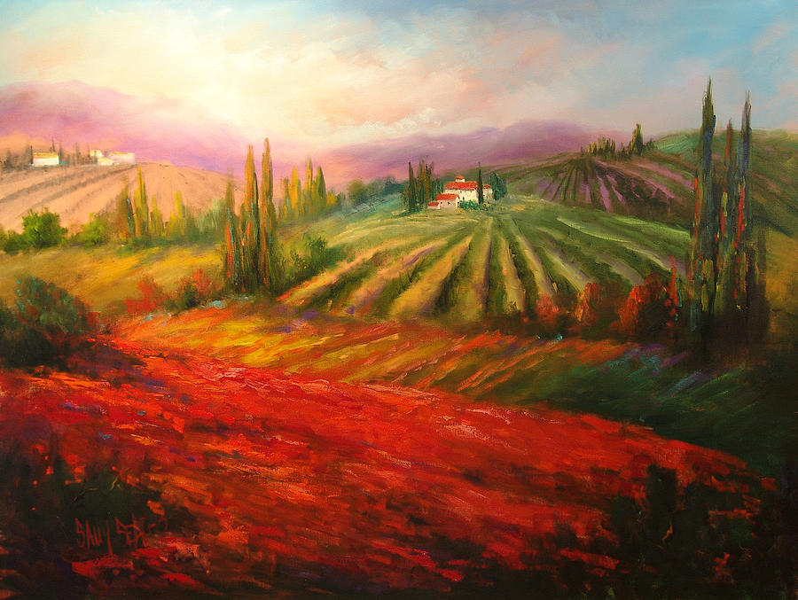 Vineyards Painting - Tuscan Poppies by Sally Seago