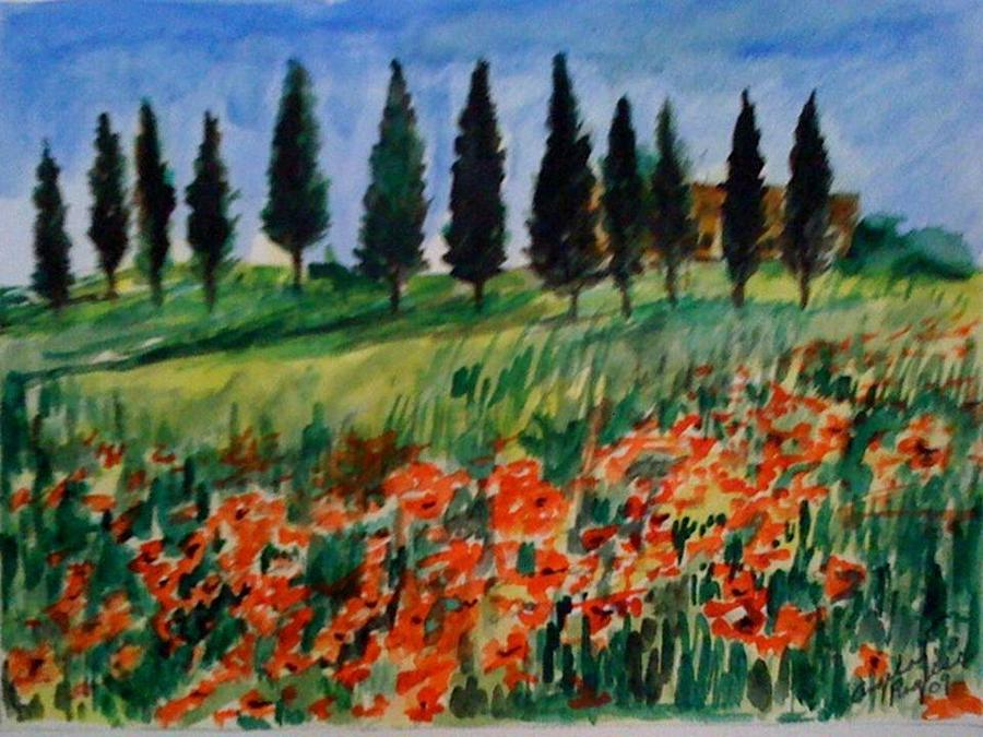 Tuscan Poppies With Poplar Trees Painting by Angela Puglisi