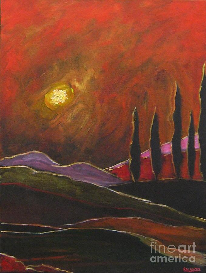 Capri Painting - Tuscan Sunset Rage by Italian Art