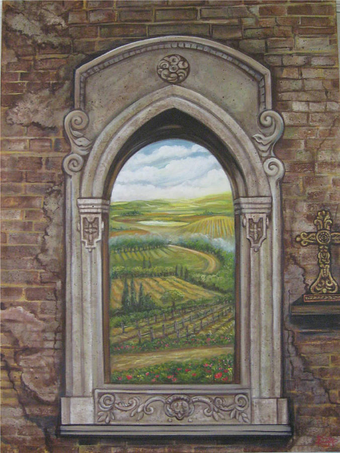 Window Painting - Tuscan View by Diann Baggett