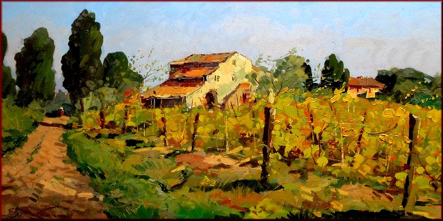 Q Painting - Tuscan Vineyard by Agostino Veroni