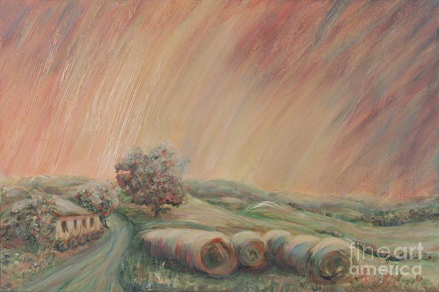 Landscape Painting - Tuscany Hayfields by Nadine Rippelmeyer