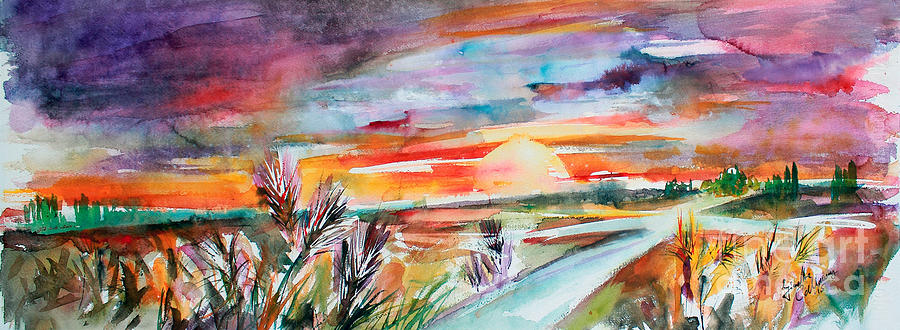 Tuscany Landscape Autumn Sunset Fields Of Rye Painting by Ginette Callaway