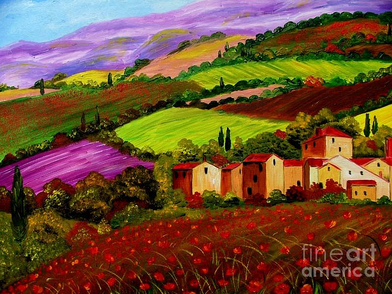 Tuscany Landscape Painting By Inna Montano