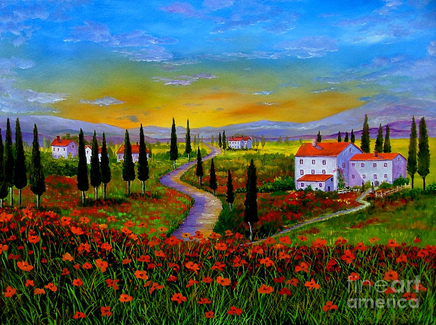 Tuscany Painting - Tuscany Sunset by Inna Montano