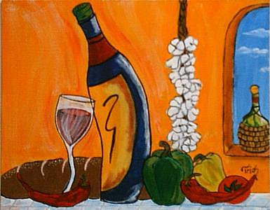 Wine Painting - Tuscany Valley Series  by Trish Laffrenere