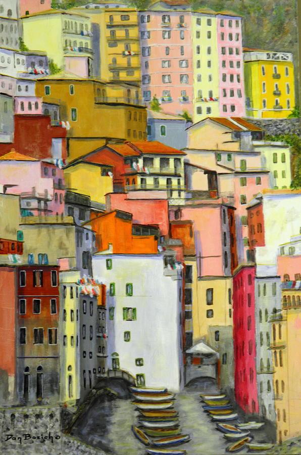 Village Painting - Tuscany Village by Dan Bozich