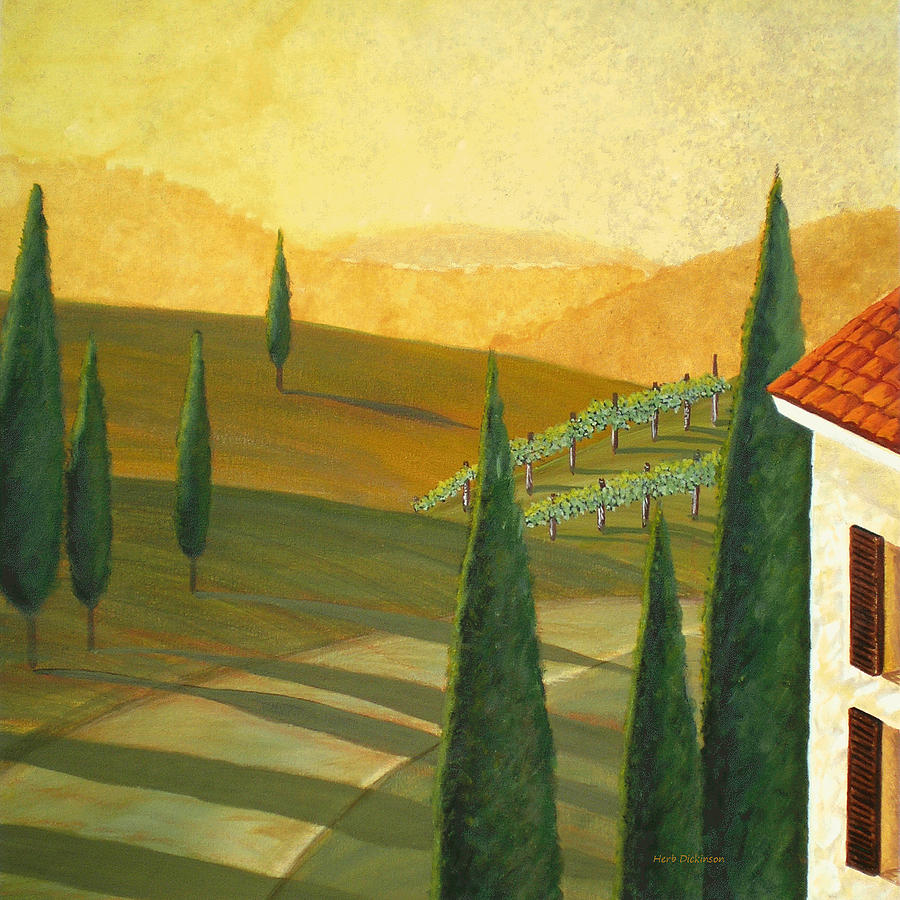 Contemporary Painting - Tuscany Vinicola I by Herb Dickinson