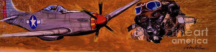 Black Pilots Painting - Tuskegee Airmen II by Leon Hollins III