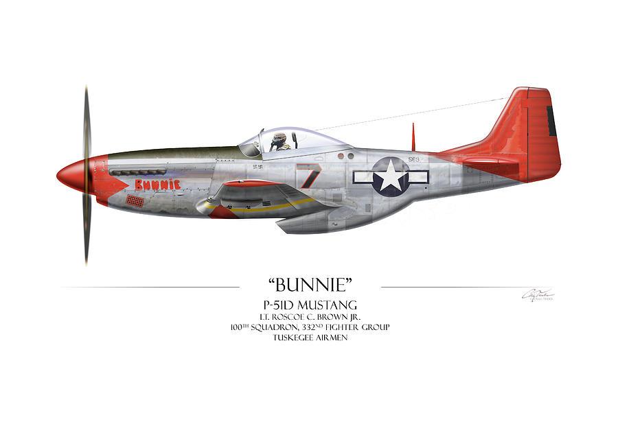 Tuskegee Digital Art - Tuskegee Airmen P-51 Mustang - White Background Art Print by Craig Tinder