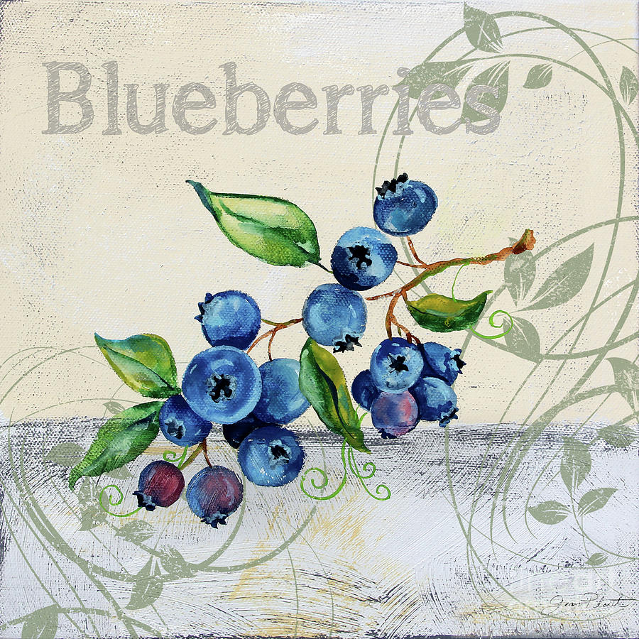 Blueberries Painting - Tutti Fruiti Blueberries by Jean Plout