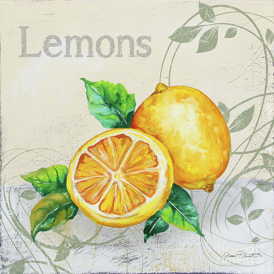 Lemon Painting - Tutti Fruiti Lemons by Jean Plout